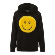 [기린]HOODIE WITH FAUX FUR SMILE _ KWBB001F19007017 _ Black/Yellow