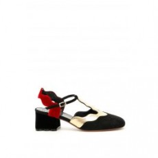 [해외][마르니]MULTICOLOR SLINGBACKS _ CHMS001504LS025 _ Black/Red/Gold