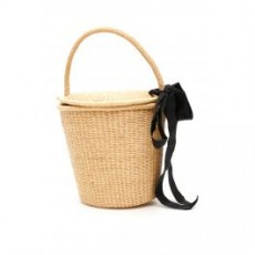 [해외][센시 스튜디오]WICKER BUCKET BAG WITH BOW _ 1101 _ Beige/Black