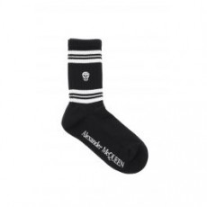 [해외]20FW[알렉산더맥퀸]SPORT STRIPE SKULL SOCKS _ 584617 3B74Q _ Black/White