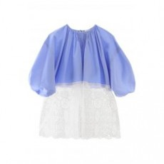 [해외]20SS[파투]COMUNION BLOUSE WITH LACE _ TO0020017620B _ Light blue/White