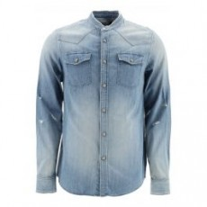 [해외]20FW[발망]DENIM SHIRT WITH LOGO _ UH12326Z060 _ Blue