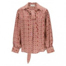 [랑방]BLOUSE WITH JL MONOGRAM PRINT _ RWTO601I4835P21 _ Pink/Yellow/Red