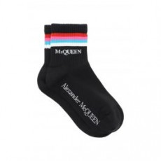 [해외]21SS[알렉산더맥퀸]STRIPE SPORTS SOCKS _ 656599 3D31Q _ Black/Fuchsia/Light blue