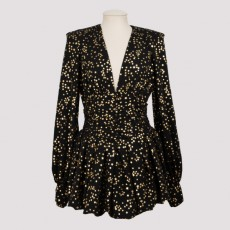 [해외]20FW[더 아티코]Ballon sleeves mini dress_ 202WCA24E012-105 NERO/ORO
