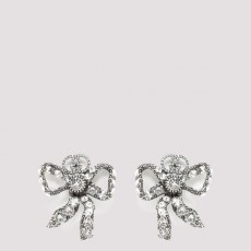 [구찌]Crystal Embellished Bow Earrings_ 583379J1D50-8162 SILVER